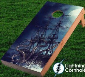 Kraken and Pirate Ship Cornhole Board by Lightning Cornhole