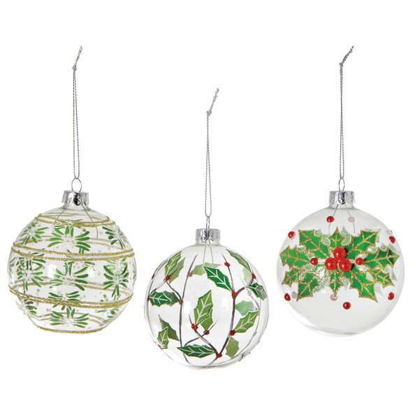 Holly Berry Ball Ornament (Set of 3) by The Holiday Aisle