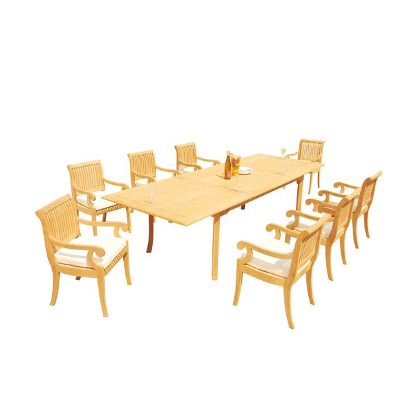 Massenburg 9 Piece Teak Dining Set by Rosecliff Heights