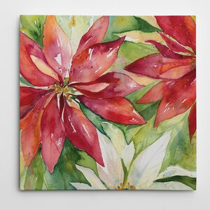 'Watercolor Poinsettia' Painting Print on Wrapped Canvas by The Holiday Aisle