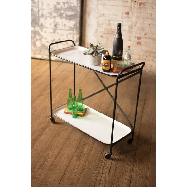Wolbert Metal Enamel Two Tiered Bar Cart by Gracie Oaks