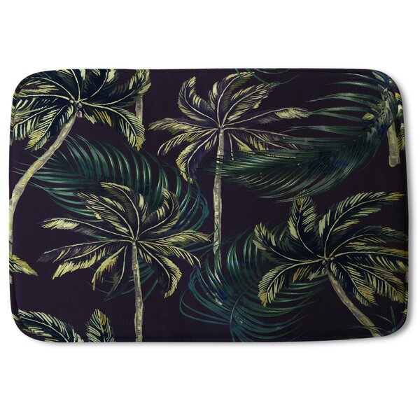 Vassar Palm Designer Rectangle Non-Slip Floral Bath Rug