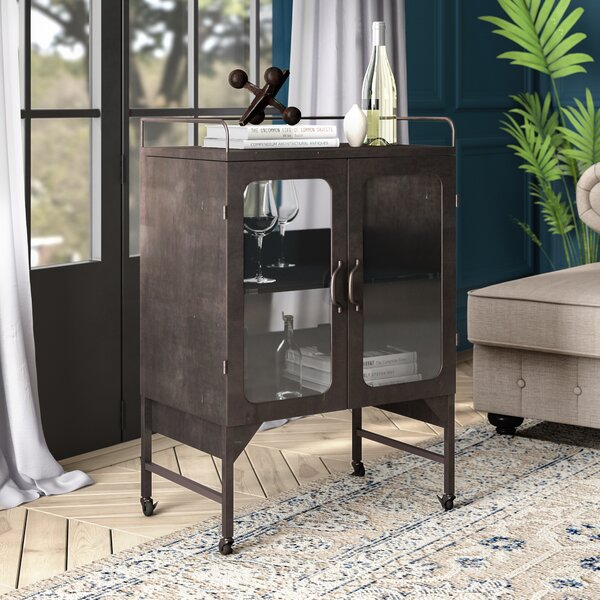 Murchison Metal and Glass Cabinet Bar Cart by Greyleigh