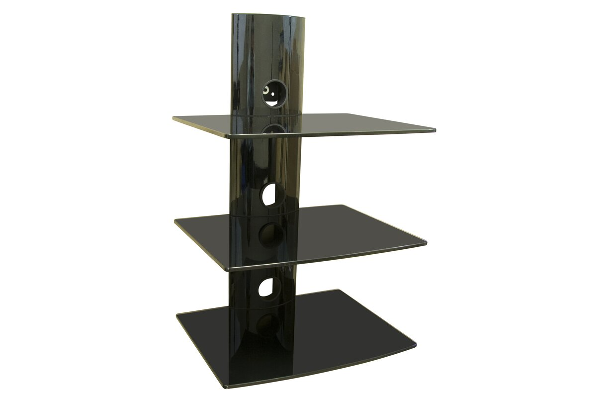 Triple Glass DVD/DVR/Component Wall Mount Shelf