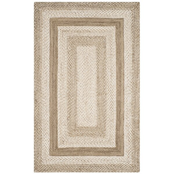 Vincent Natural Fiber Hand Hooked Gray Area Rug  by Rosecliff Heights
