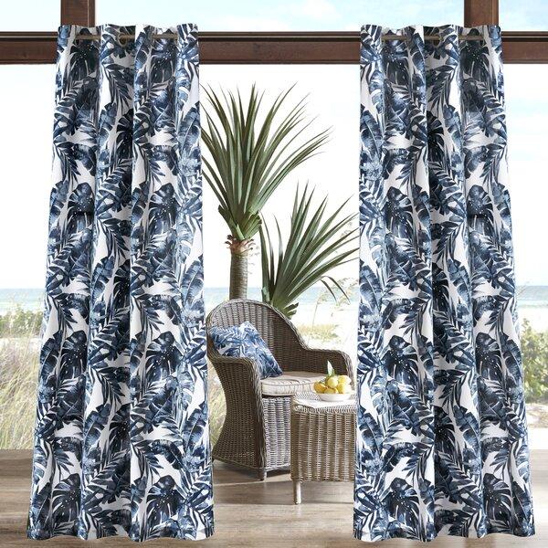 Allyson 3M Scotchguard Nature/Floral Semi-Sheer Outdoor Grommet Single Curtain Panel by Mistana