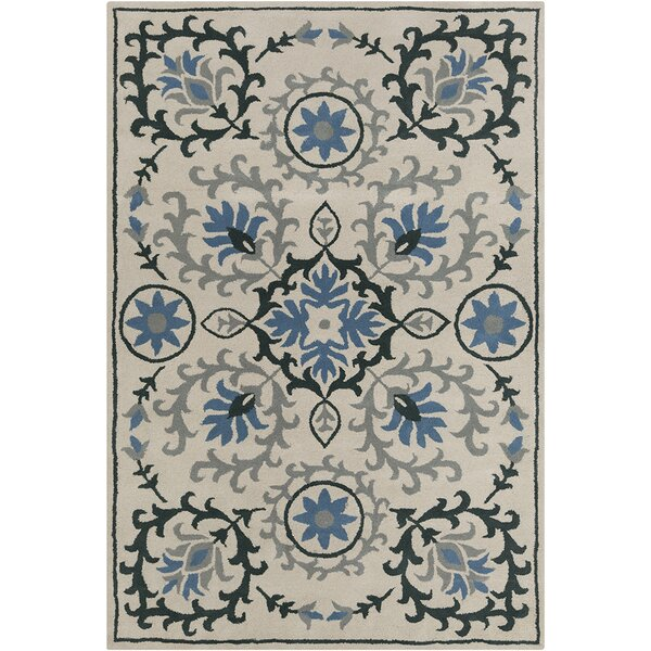 Inara Hand Tufted Wool Cream/Blue Area Rug by Bungalow Rose