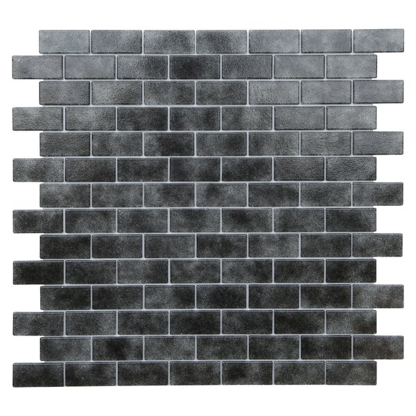 Quartz 0.75 x 1.63 Glass Mosaic Tile in Black/Gray by Kellani