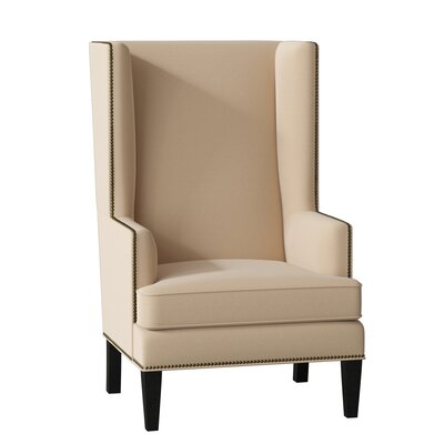 Bodie Wingback Chair Body Fabric: Brixton Beach, Leg Color: Black, Nailhead Detail: Silver
