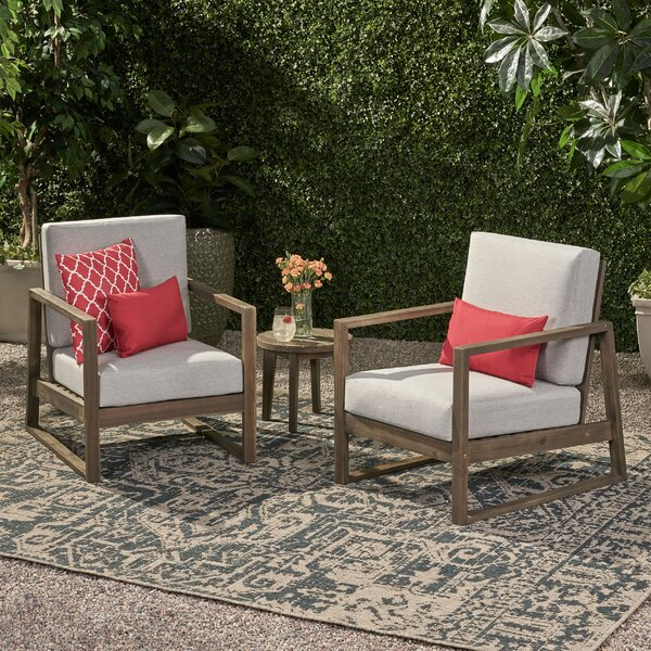 Broaddus Outdoor Patio Chair with Cushions (Set of 2) by Corrigan Studio