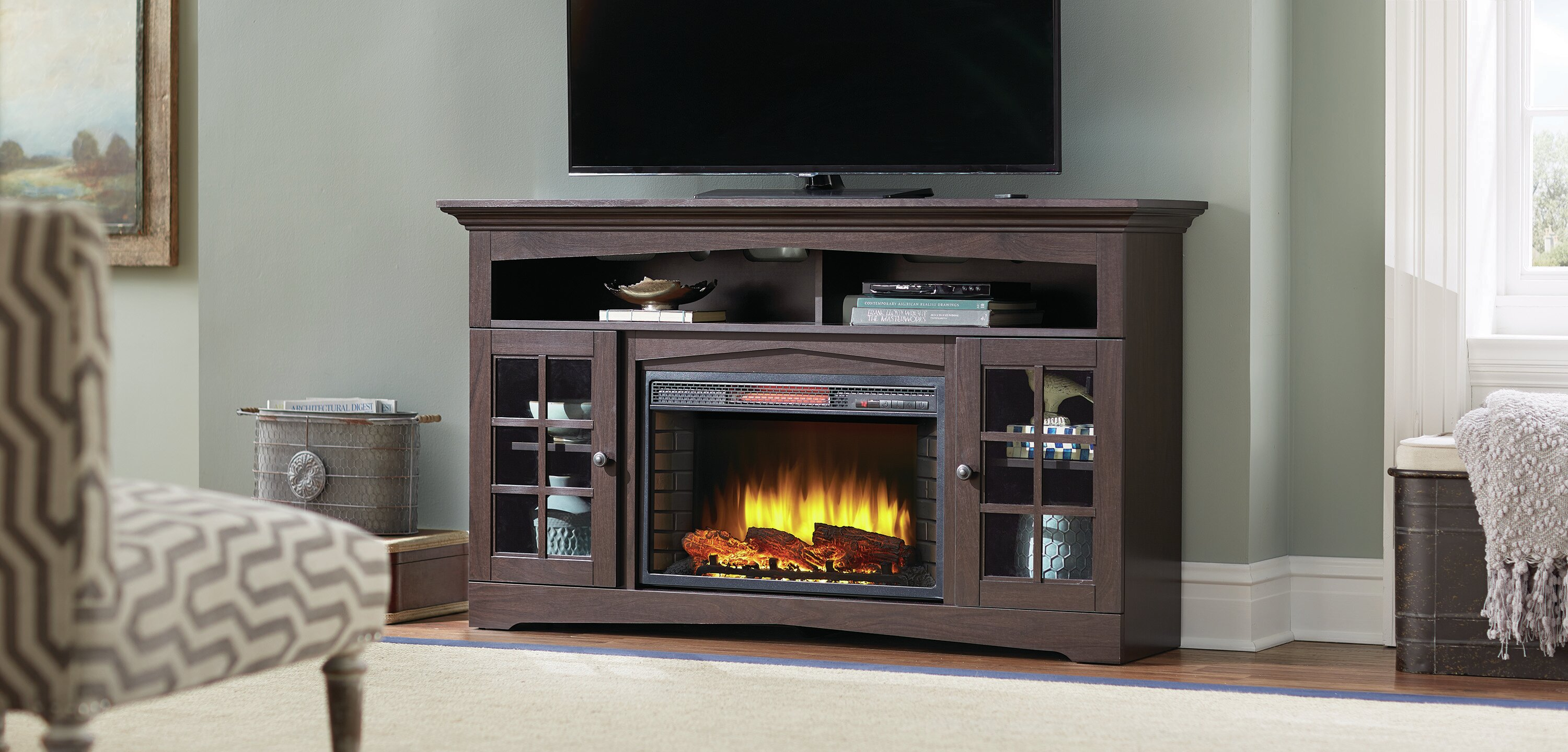 fireplace decorative as corner dining captivating ideas room living wells furniture picture