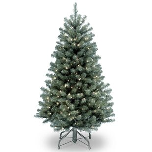 north valley blue spruce artificial christmas tree with clear lights with stand - White And Blue Christmas Tree