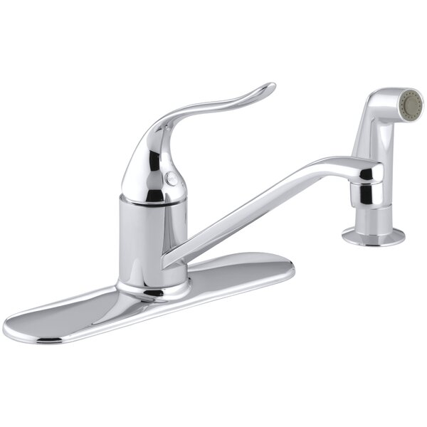Coralais Three-Hole Kitchen Sink Faucet with 8-1/2 Spout, Matching Finish Sidespray and Lever Handle