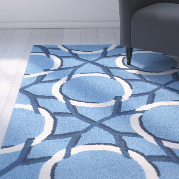Thomes Hand-hooked Blue/Ivory Area Rug by Latitude Run