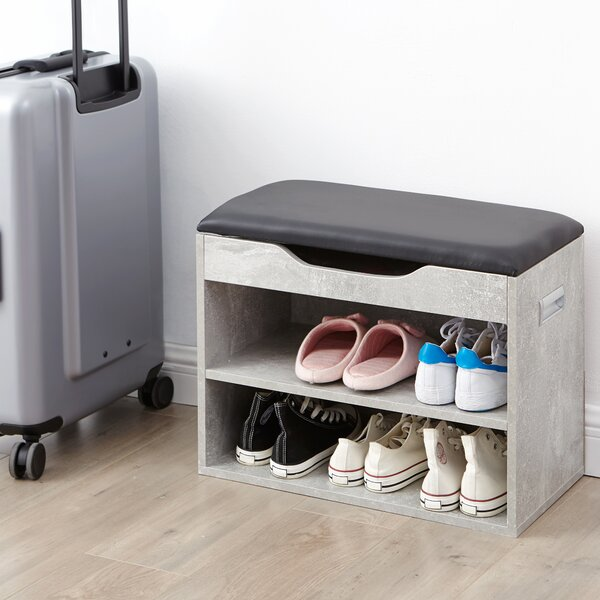 Compact Shoe Storage Bench with Top Cushion by Ebern Designs