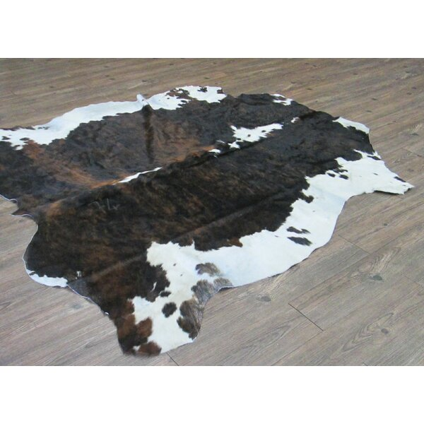 Tomlinson Hand-Woven Cowhide Black/Brown Area Rug by Loon Peak