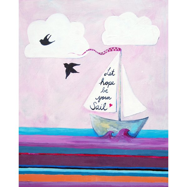 Nautical Let Hope Be Your Sail Paper Print by Cici Art Factory