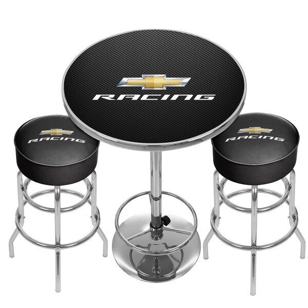 Chevy Racing Game Room Combo 3 Piece Pub Table Set by Trademark Global Trademark Global