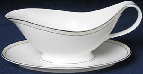 Platinum Beaded Pearl Gravy Boat by Nikko Ceramics