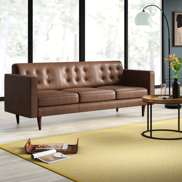 Louane Mid Century Modern Leather Sofa by Mercury Row