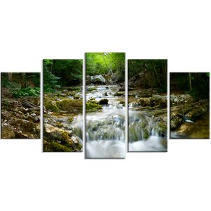 'Natural Spring Waterfall' 5 Piece Wall Art on Wrapped Canvas Set by Design Art