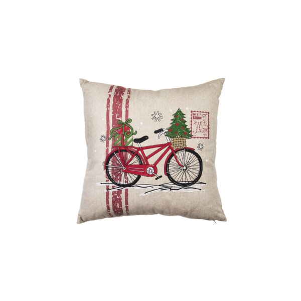 Christmas Bike Throw Pillow by The Holiday Aisle