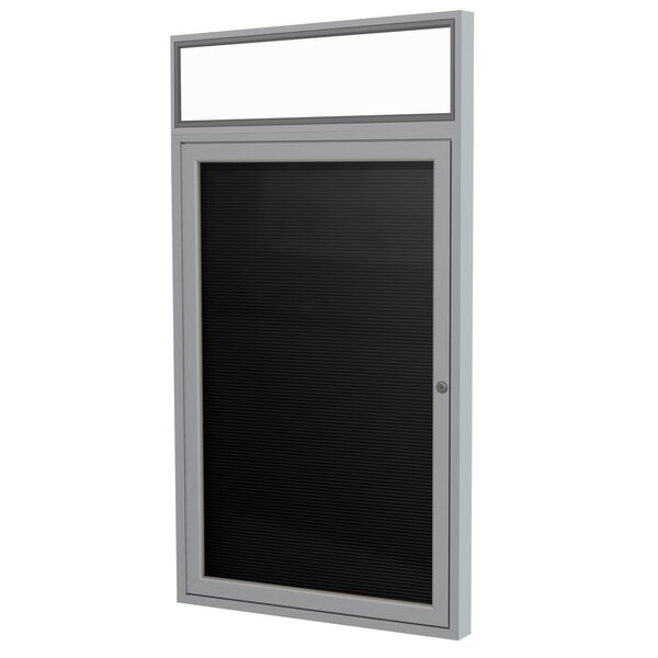 Ghent 1 Door Enclosed Vinyl Letter Board with Satin Aluminum Headliner Frame by Ghent