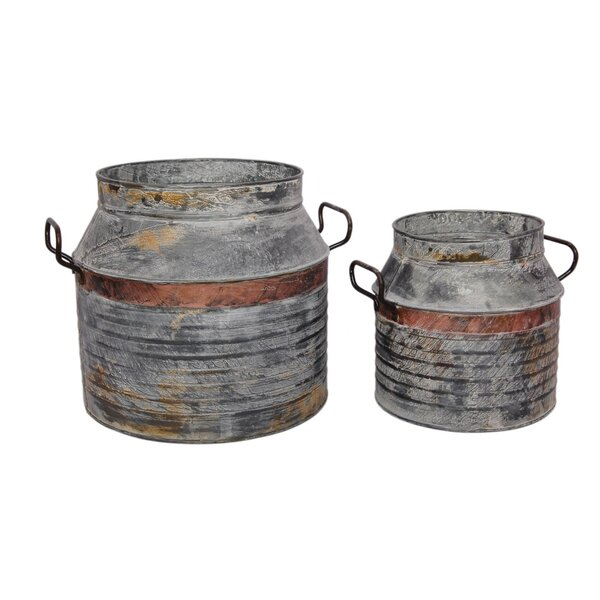 Milk Can Galvanized Iron 2 Piece Pot Planter Set by BIDKhome