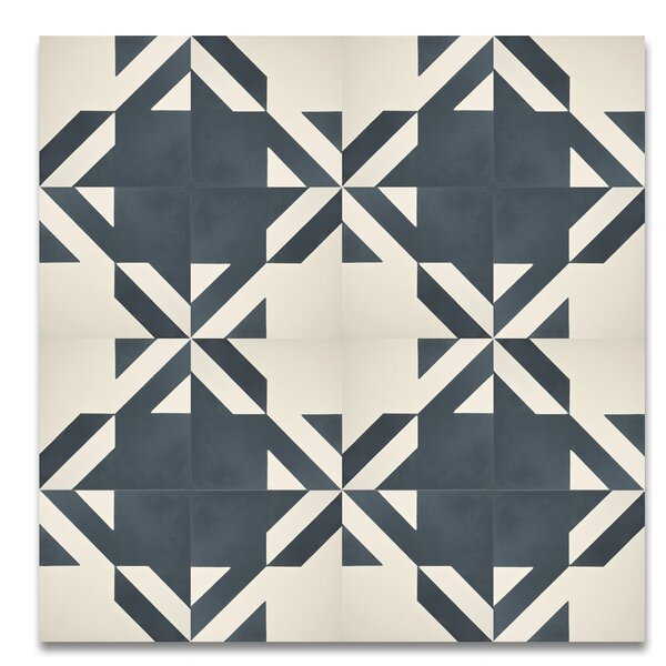Tantan 8 x 8  Handmade  Cement Tile in Navy Blue/White by Moroccan Mosaic
