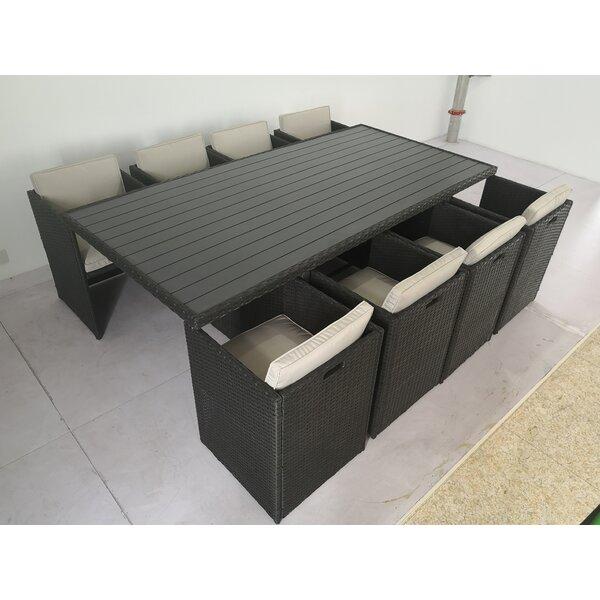 Omara 9 Piece Dining Set with Cushions by Latitude Run