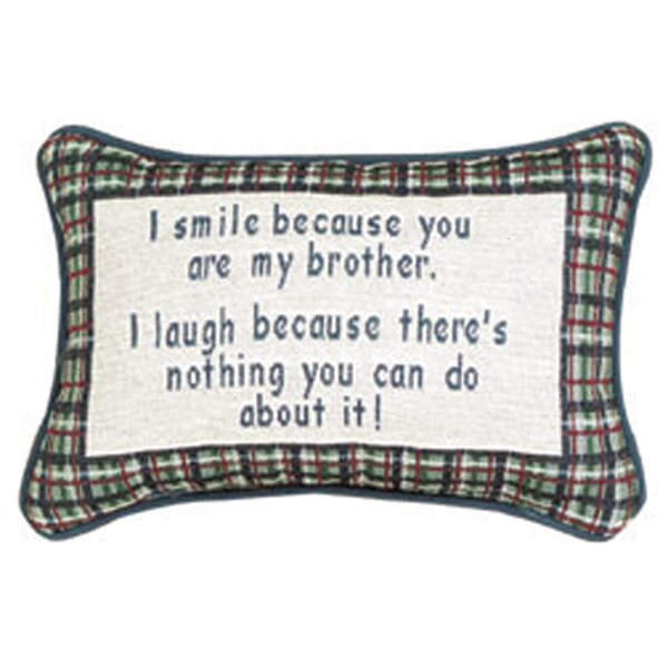 I Smile Because Brother Word Lumbar Pillow by Manual Woodworkers & Weavers
