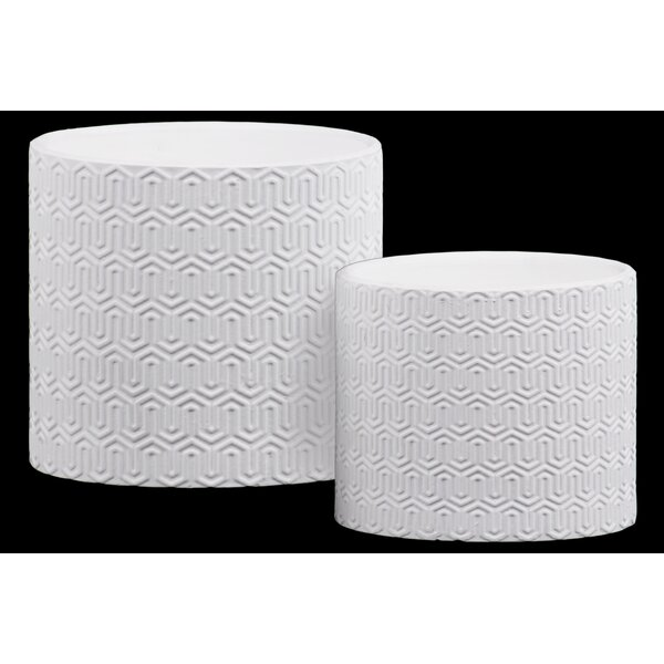 Bettencourt Cylindrical Embossed Lattice Wave 2-Piece Stone Pot Planter Set by George Oliver