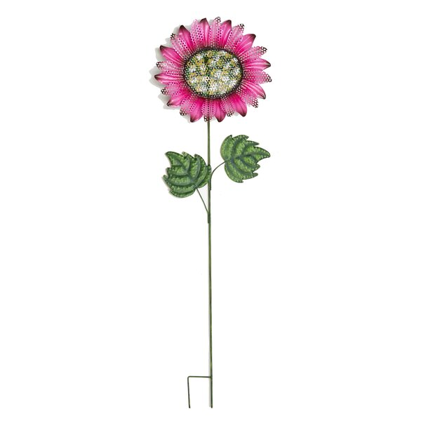 Metal Glitter Sunflower on Wobbly Garden Stake by Worth Imports