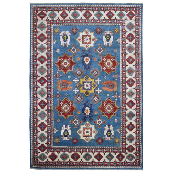 One-of-a-Kind Marjorie Hand-Woven Wool Blue/Red Area Rug by Isabelline
