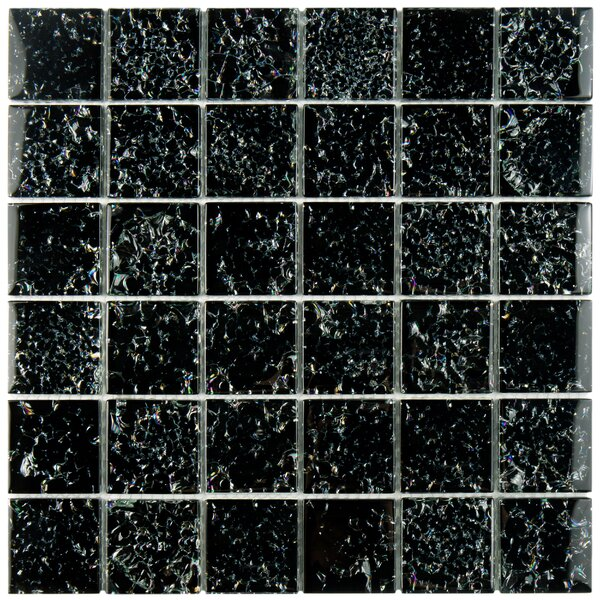Entira 1.89 x 1.89 Glass Mosaic Tile in Crackle Black by EliteTile