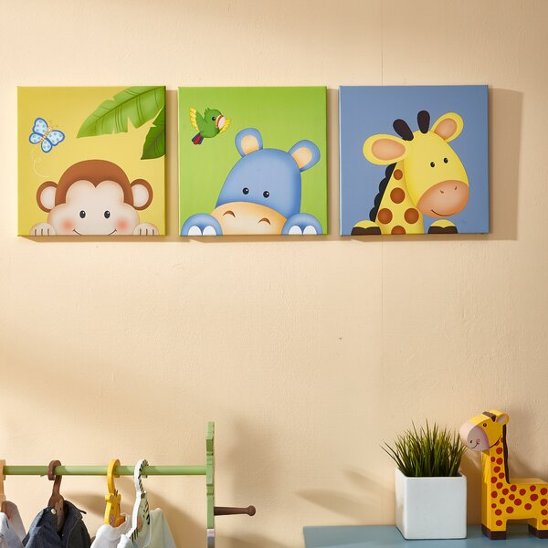 Sunny Safari 3 Piece Canvas Art Set by Fantasy Fields