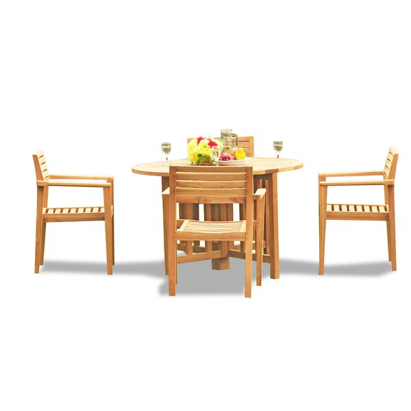 Lomita Luxurious 5 Piece Teak Dining Set by Rosecliff Heights