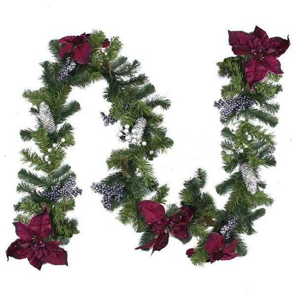 Two-Tone Pine with Poinsettias Berries and Pine Cones Christmas Garland with Unlit by Northlight Seasonal