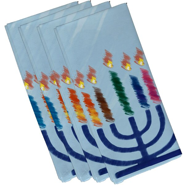 Menorah Illumination Geometric Print Napkin (Set of 4) by The Holiday Aisle