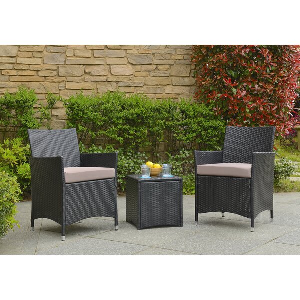 Minden 3 Piece Conversation Set with Cushions by Wrought Studio