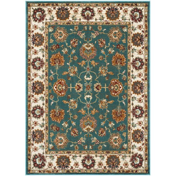Lowe Oriental Teal Area Rug by Charlton Home