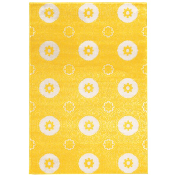 Lucinda Yellow Area Rug by Threadbind
