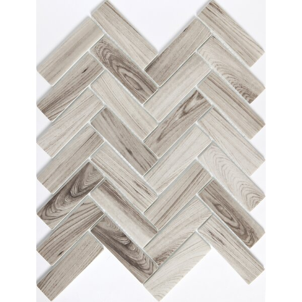 Echo Herringbone 1 x 2 Glass Mosaic Tile in Gray by Emser Tile