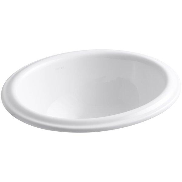 Intaglio Ceramic Oval Drop-In Bathroom Sink by Kohler