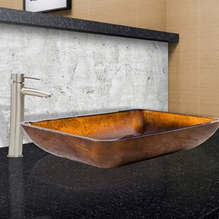 Compare Russet Glass Rectangular Vessel Bathroom Sink with Faucet By VIGO