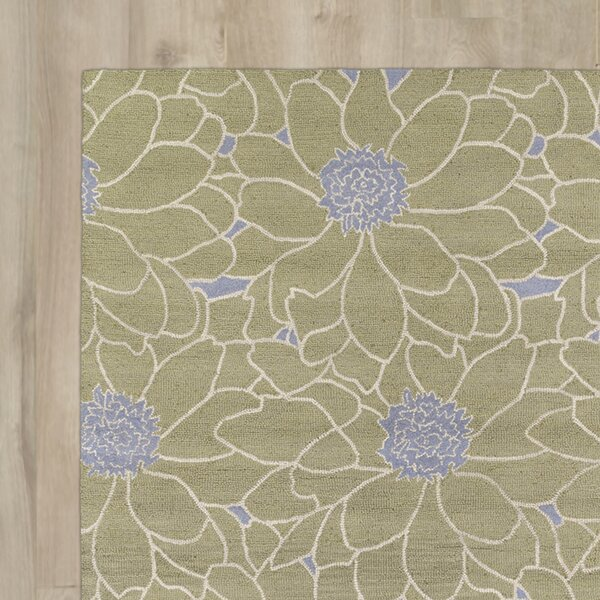 Rosewood Hand-Tufted Green Area Rug by Harriet Bee