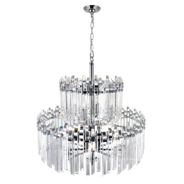 Jemima 12 - Light Unique / Statement Tiered Chandelier with Crystal Accents by House of Hampton House of Hampton