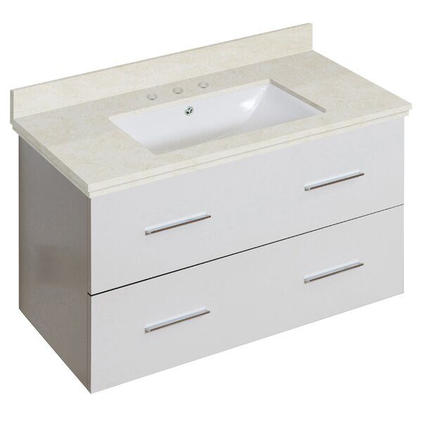 Phoebe Drilling Wall Mount 36 Single Bathroom Vanity Set with Handles by Orren Ellis