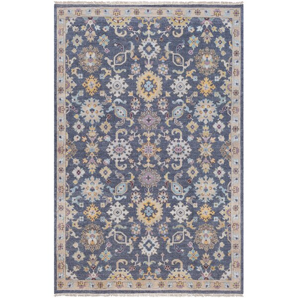 Casco Floral Hand Knotted Charcoal/Brown Area Rug by Bungalow Rose