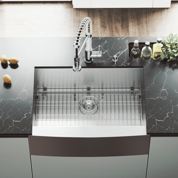 30 L x 22 W Farmhouse Kitchen Sink with Faucet, Grid, Strainer and Soap Dispenser by VIGO